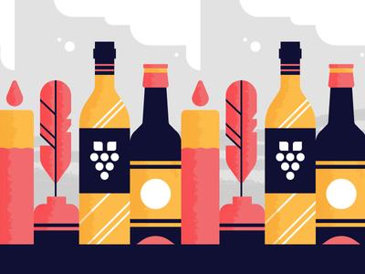 Shelf Unit flat geometric smoke shelf quill candle wine beer