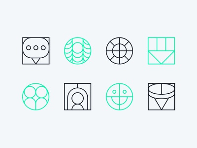 Abstract Icons thin line thin property furniture office set icon abstract