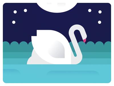 Swan sweating night flat geometric colour swan