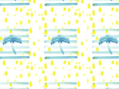 Stripes, dots and palm trees pattern