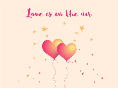 Love Is In The Air baby pink cupid confetti valentine balloon love