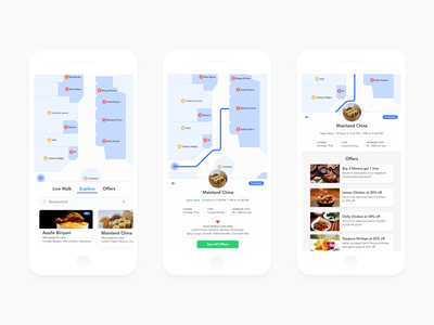 App Concept for Store Locator in a Shopping Mall restaurant food map mall store concept app