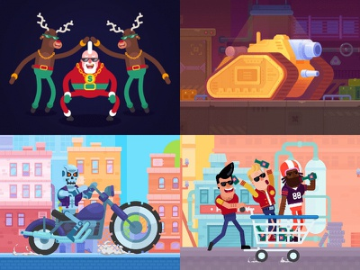 TOP VIEW ON DRIBBBLE 2018! illustration racing app tank stars tank motion graphics after effects happy happy racing character design game animation game 2d animation spine funny characters flat animation