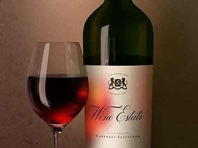 Wine Bottle Dutch Style wine branding mock-up mockup label template