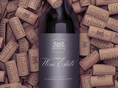 Bottle on corks editable mock-up wine branding mock-up mockup label template