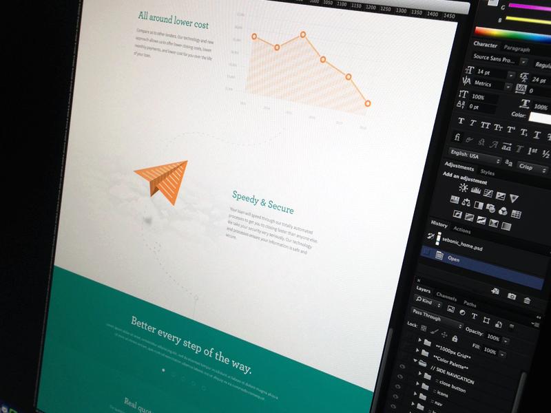 Financial Website focus lab website web design flat one page tour icons graphs