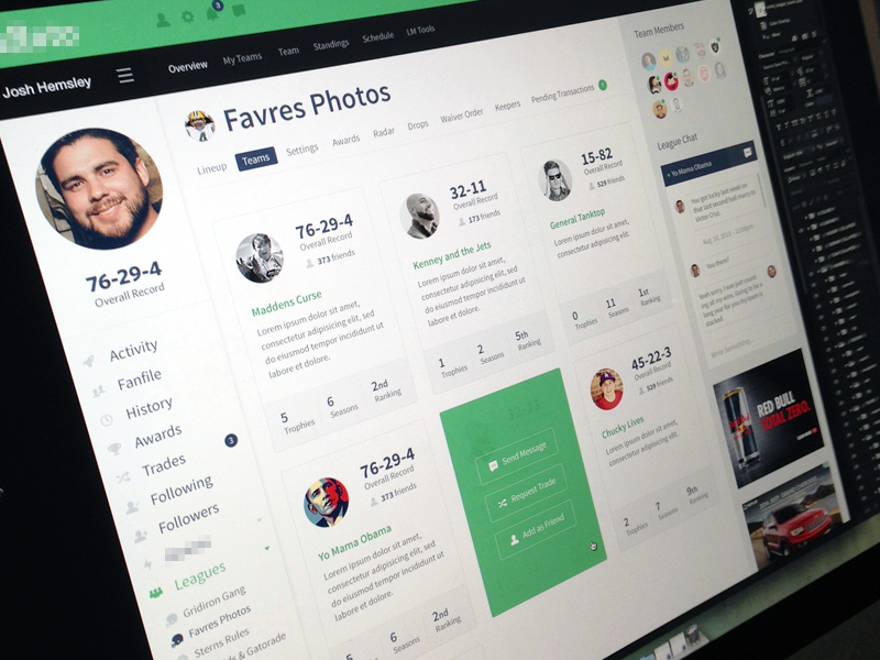 Team Page focus lab web design icons website fantasy football flat branding app