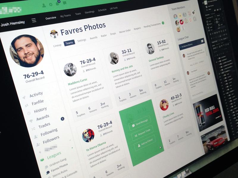 Team Page focus lab web design icons website fantasy football flat branding app