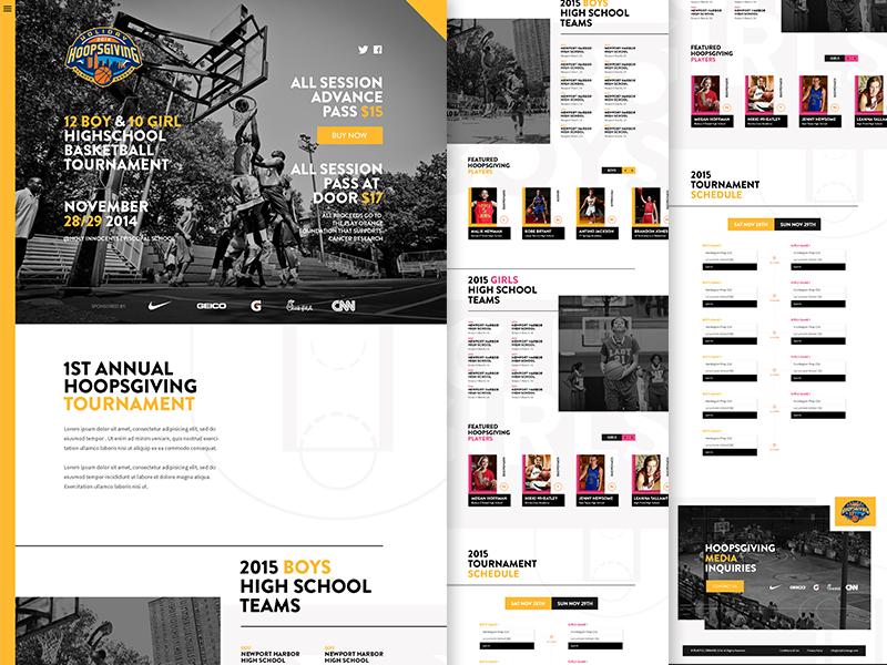 Hoopsgiving  focus lab web design basketball charity branding website marketing flat