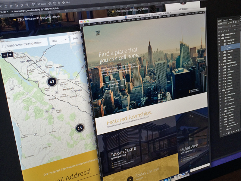 In The Works focus lab web design branding mark icon real estate maps website ui design user interface