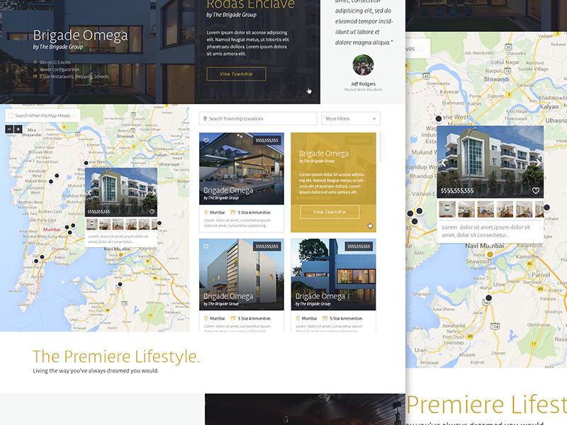 Map View focus lab real estate branding map web design website flat design icons