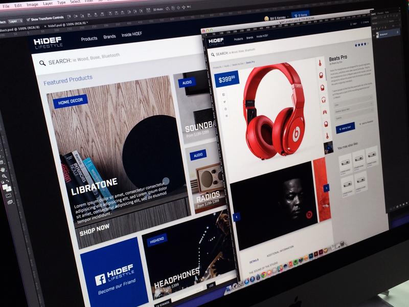 HiDEF focus lab commerce branding shop web design website flat design icons