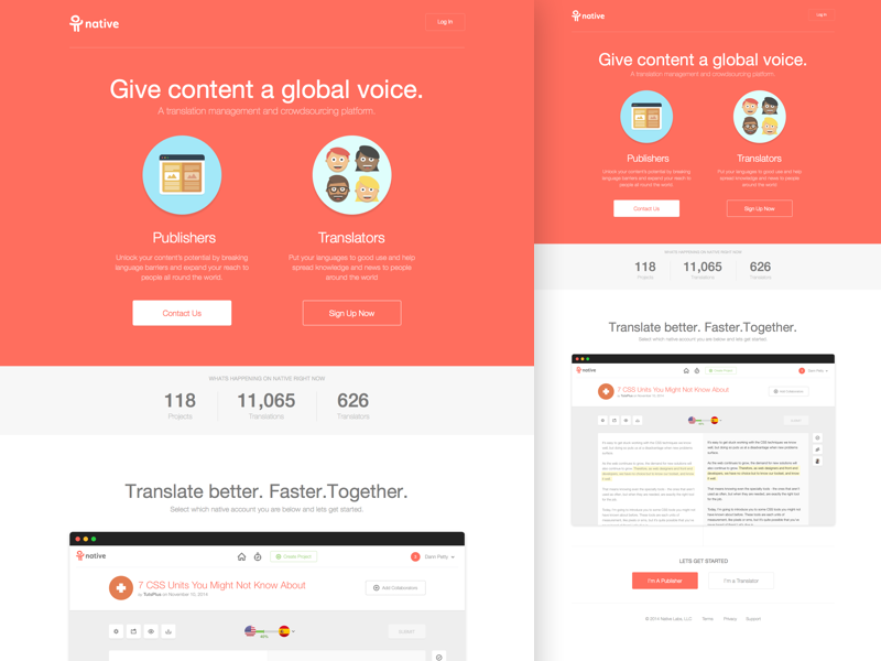 Native Landing Page web design icons flat design website marketing app