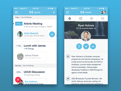Charlie App flat icons iphone meetings calendar ios product design app design