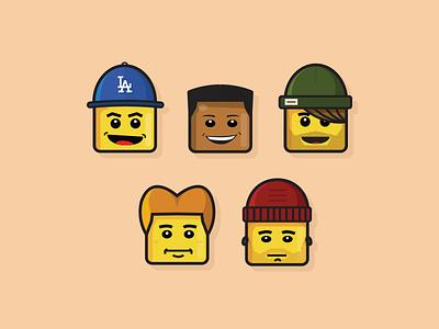 Lego Heads illustrator icon flat illustration lego
