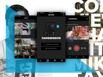 GoPro App Update app mobile android ios portfolio flat design apple watch gopro