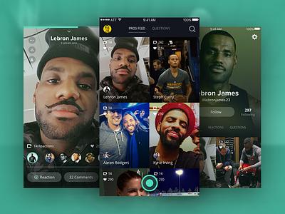 Pros App ios sports uiux app design dark flat video social
