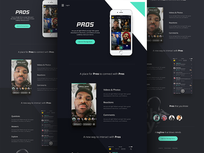 Pros Home landing page ios video flat uiux design dark marketing site