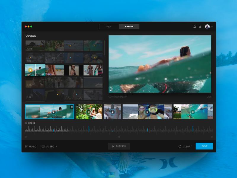 Quik for Desktop software video editing video music dark ux ui gopro editor