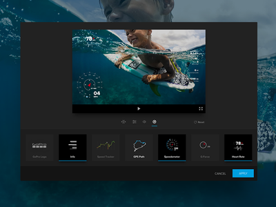 Telemetry Update gopro editor desktop data visualization gauges telemetry icons ui design ux design