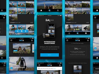 QuikStories dark flat design icons mobile app android ios quikstories gopro