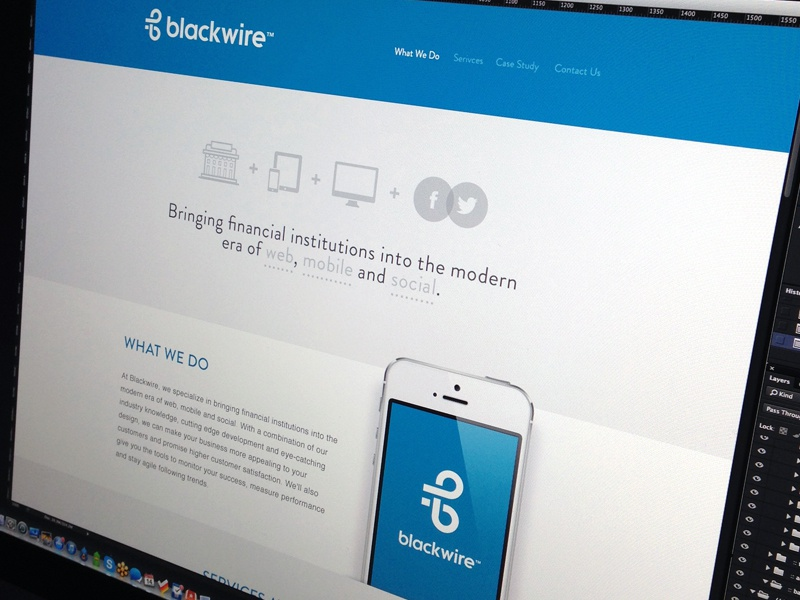 Blackwire web design mobile finance icons blue website one page