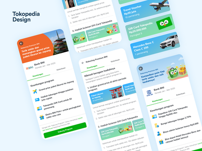 Tokopedia - Rekening Premium Program Details ui design design finance fintech user interface app interface product design banners cards mobile design banking ux ui