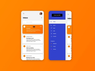 Mailing System orange blue concept ios mobile burger menu icon vector app dashboard interface uxdesign uidesign inbox read system mailing ux ui
