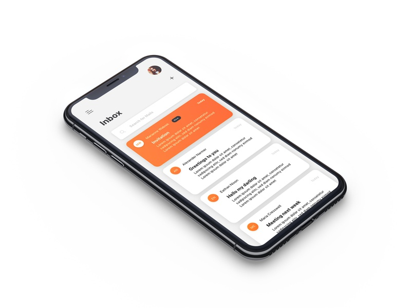 Inbox Design for Iphone X interface category select new iphone ios mobile email message unread orange profile meeting time search inbox mailing app ux ui