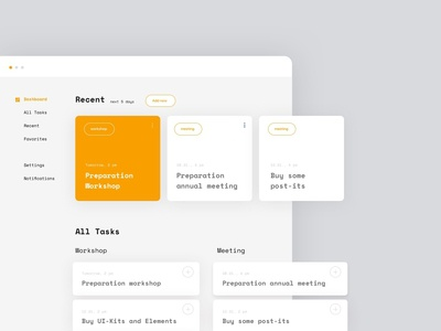 Concept for a Planning Application tag add notification settings meeting card view task organize planner orange list concept dashboard uxdesign uidesign design interface app ux ui