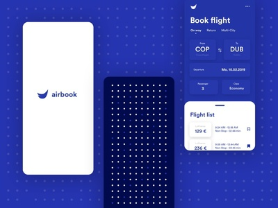 Airbook — Booking application data typography search qrcode flight booking flight airline blue list concept dashboard mobile ios uxdesign uidesign design interface ux app ui