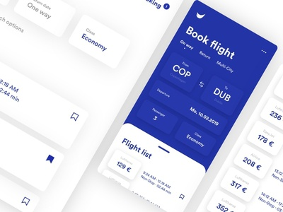Booking Application price notification booking flight airline search calender blue list concept dashboard mobile ios interface design uxdesign uidesign ux app ui