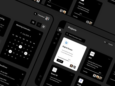 Project application tasks manage organize project notification vector graph infographic calender list black dashboard concept uxdesign uidesign design interface ux app ui