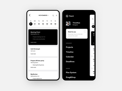 Fluent Mobile reminder notification calender management project todo list dashboard mobile ios uxdesign uidesign design interface ux app ui