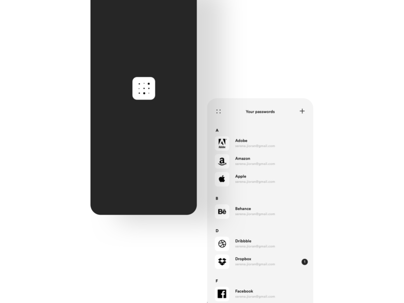 Password manager administration account blackandwhite logo animation minimalist password manager list safety notification security safe password uxdesign uidesign design interface app ux ui