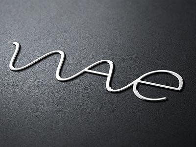 Badge logo metallic wave badge photorealistic skeuomorphic icon metal silver 3d mockup skeuomorphism