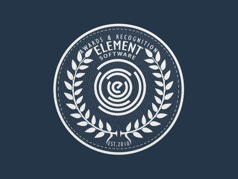 Element her element patch laurels skeuomorphic badge stitch software awards recognition logo icon