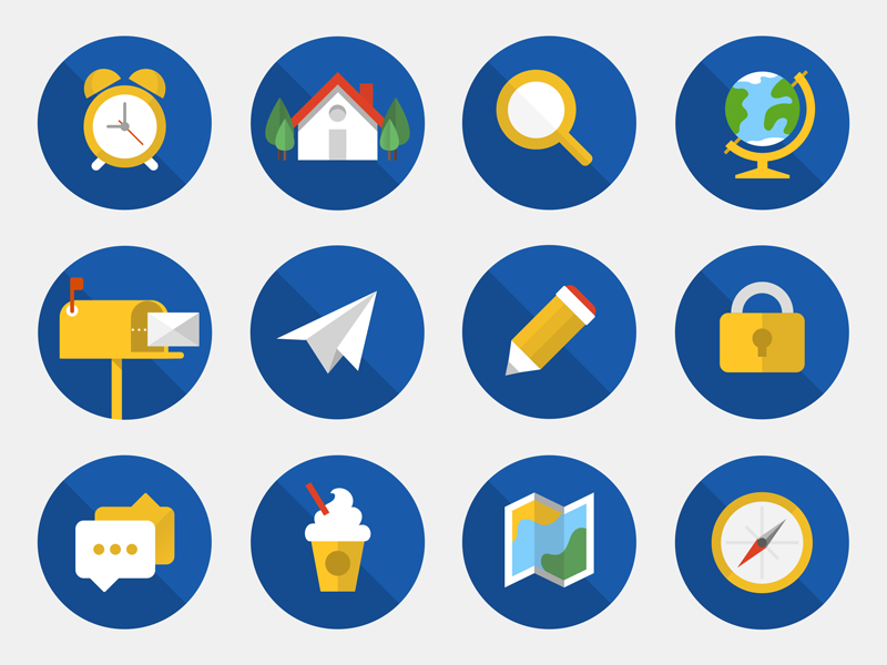 BrightWork Icons II round circle friendly colourful illustration management project flat icons set icon brightwork