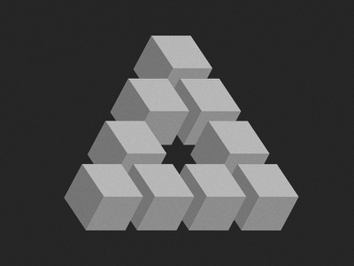 Penrose penrose triangle cube star grayscale blocks