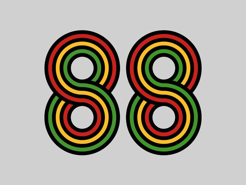 88 figures 88 typography eighty-eight numbering infinite loop number delorean stripes flat design simple