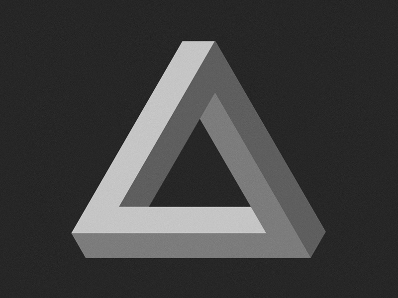 Impossible impossible object triangle penrose tribar optical illusion minimalist mathematical monochrome grayscale