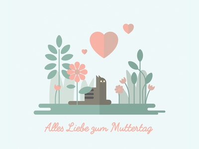 Happy Mother´s Day hamburg dribbble illustration special day mothers love heart flowers cat mothers day
