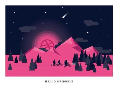 Hello Dribbble! Stranger Things Edition. moon sky night dark bike first hi debut netflix stranger things dribbble hello