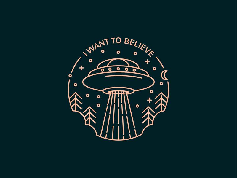 I want to believe scully mulder line art illustration line art spaceship space night stars ufo aliens x-file x-files i want to believe believe design vector germany dribbble illustration hamburg
