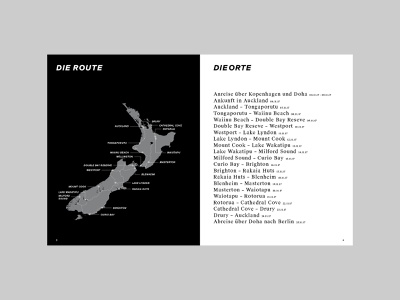 New Zealand Photobook Map hamburg germany travel book location black  white typography route roadtrip map vacation travel spread layout editorial design photobook nz new zealand editorial book design book
