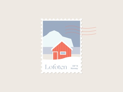Lofoten Stamp 68° N new year europe red hut cabin house lofoten norway travel dribbble stamp design stamp icon christmas typography branding and identity vector design illustration germany