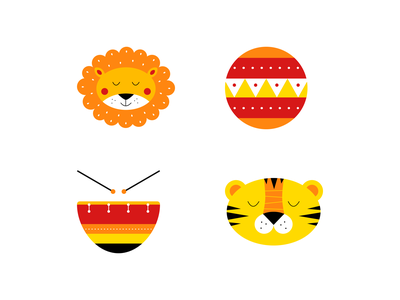 Circus icons illustration children kids yellow orange red icon drum ball lion tyger circus
