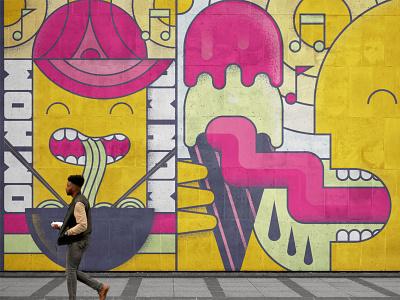 Retail Murals atlanta mural design energy ice cream noodles ramen illustration mural