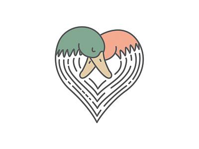 My Other Duck illustration heart love wedding duck logo