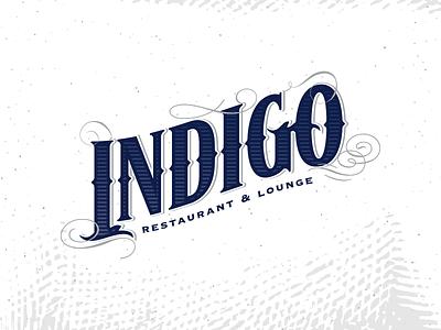 Indigo Restaurant & Lounge flourish vintage restaurant logo